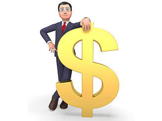 Money Character Indicates Business Person And Bank 3d Rendering